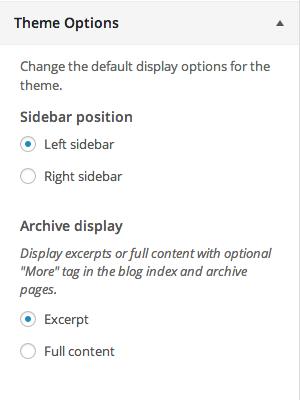Setting the sidebar position in the Simone WordPress theme