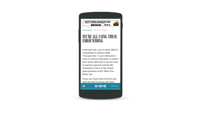 Screengrab of an imaginary version of Wired.com where the main navigation bar is on the bottom on mobile screens.
