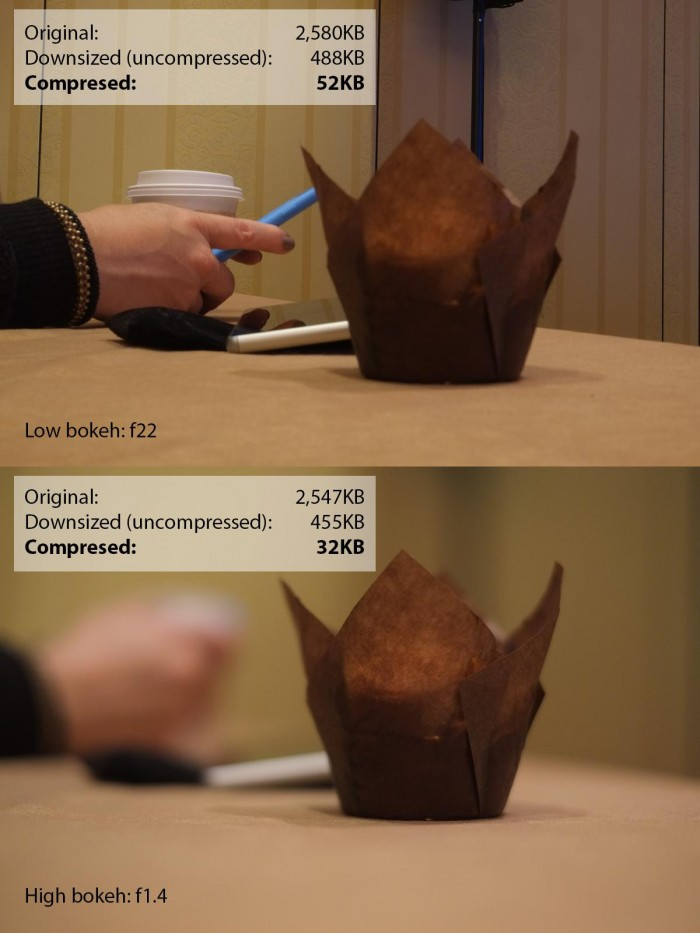After identical compression, the low bokeh (high background detail) photo has a file size of 52Kb. The high bokeh (low background detail) photo has a file size of 32Kb.