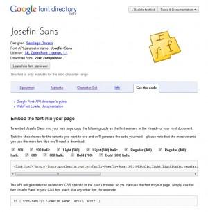 Josefine Google Font