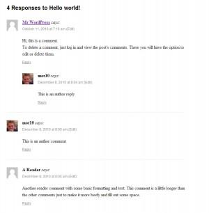 Default twentyten comments