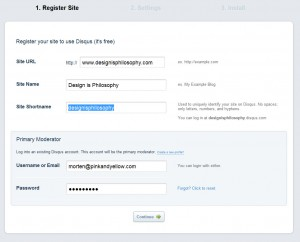 Disqus site registration