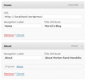 WordPress 3 menu item configuration