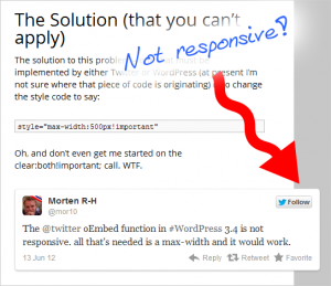 Twitter oEmbed not responsive
