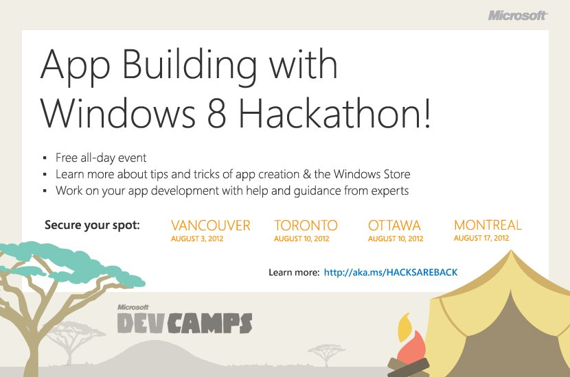 Go to Windows 8 Hackathons throughout Canada this summer