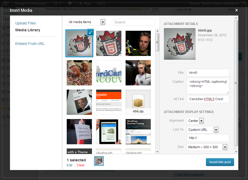Screen grab of the WordPress 3.5 media uploader