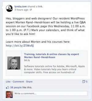 Screen grab of Facebook posting about Morten doing a Q&A session