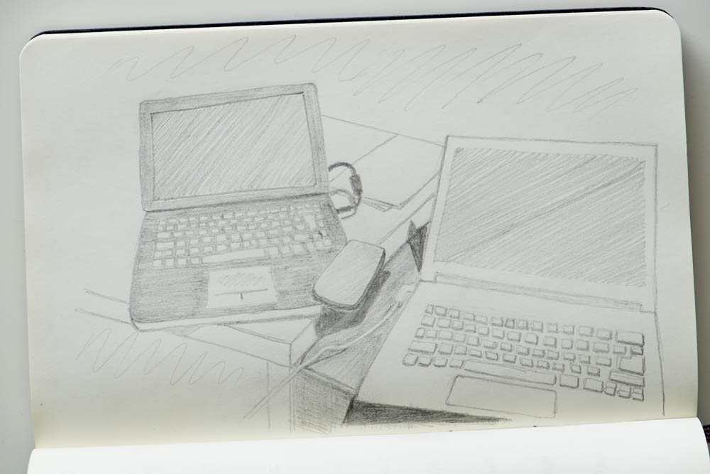 Analogue - pencil drawing of two computers and a phone