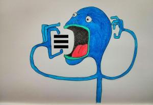 Blue monster eating a hamburger