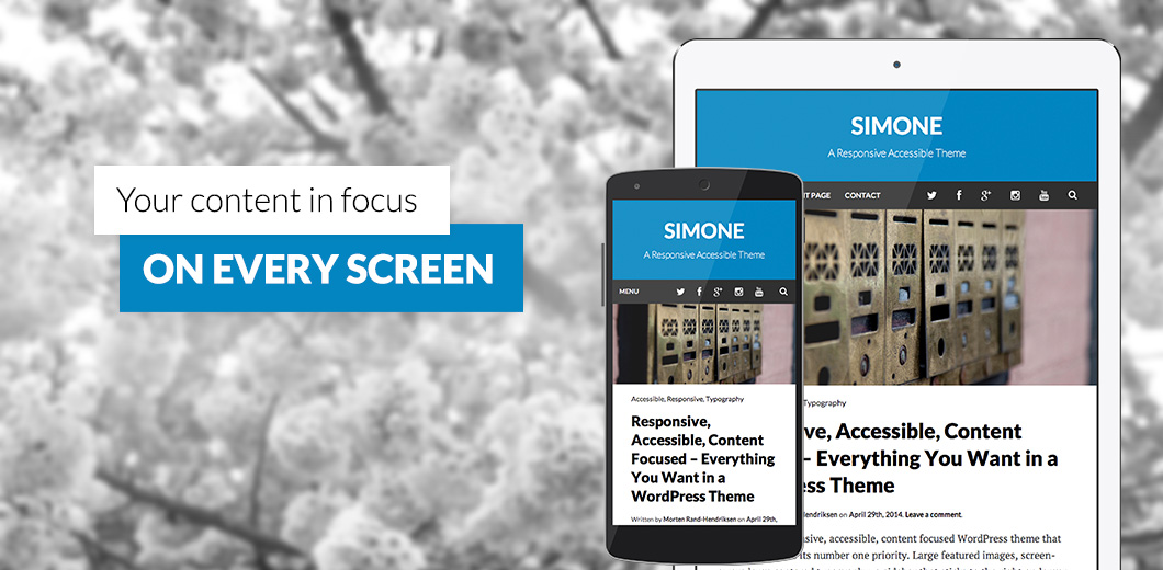 Free WordPress theme Simone: Responsive, accessible, flat design