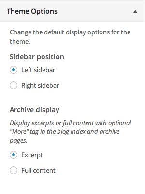 Setting the sidebar position in the Simone WordPress theme