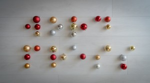 """WordPress"" written in Braille with Christmas ornaments"